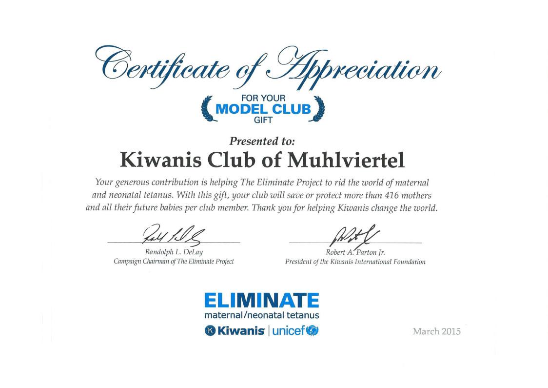 KCMV Modellclub Urkunde